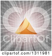 Clipart Of A 3d Orange Pyramid Over A Burst Of Light And Gray Tiles Royalty Free Vector Illustration