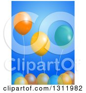 Clipart Of A Background Of 3d Party Balloons Over Blue Royalty Free Vector Illustration
