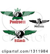 Clipart Of Winged Eightballs With Cue Sticks And Crows Over Text Royalty Free Vector Illustration