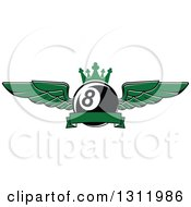 Clipart Of A Green Winged And Crowned Eightball With A Blank Ribbon Banner Royalty Free Vector Illustration by Seamartini Graphics
