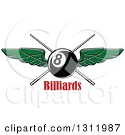 Clipart Of A Green Winged Eightball Over Crossed Cue Sticks Over Red Text Royalty Free Vector Illustration