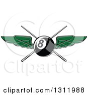 Clipart Of A Green Winged Eightball Over Crossed Cue Sticks Royalty Free Vector Illustration by Seamartini Graphics