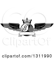 Clipart Of A Black And White Winged And Crowned Eightball With A Blank Ribbon Banner Royalty Free Vector Illustration by Seamartini Graphics