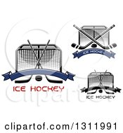 Clipart Of Hockey Goal Posts With Crossed Sticks Pucks Banners And Text Royalty Free Vector Illustration