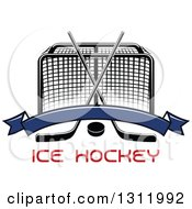 Clipart Of A Black And White Hockey Goal Post With Crossed Sticks A Puck And Blank Blue Banner Over Red Text Royalty Free Vector Illustration