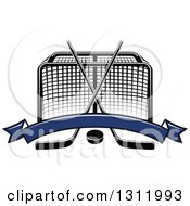 Clipart Of A Black And White Hockey Goal Post With Crossed Sticks A Puck And Blank Blue Banner Royalty Free Vector Illustration