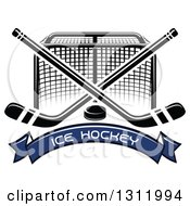 Clipart Of A Black And White Hockey Goal Post With Crossed Sticks A Puck And Blue Text Banner Royalty Free Vector Illustration