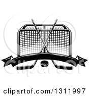Clipart Of A Black And White Hockey Goal Post With Crossed Sticks A Puck And Blank Banner Royalty Free Vector Illustration