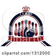 Clipart Of Navy Blue And Red Bowling Pins And Ball In A Star Arch With A Crown And Blank Red Banner Royalty Free Vector Illustration by Vector Tradition SM