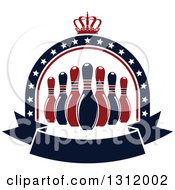 Clipart Of Navy Blue And Red Bowling Pins In A Star Arch With A Crown And Blank Banner Royalty Free Vector Illustration