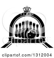 Clipart Of Black And White Bowling Pins And Ball In A Star Arch With A Crown And Blank Banner Royalty Free Vector Illustration