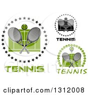 Clipart Of Tennis Balls And Crossed Rackets Over Courts Designs With Text Royalty Free Vector Illustration