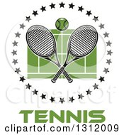 Clipart Of A Tennis Ball And Crossed Rackets Over A Green Court In A Circle Of Black Stars Over Text Royalty Free Vector Illustration