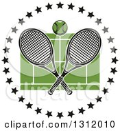 Clipart Of A Tennis Ball And Crossed Rackets Over A Green Court In A Circle Of Black Stars Royalty Free Vector Illustration