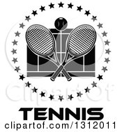 Clipart Of A Black And White Tennis Ball And Crossed Rackets Over A Court In A Circle Of Stars Over Text Royalty Free Vector Illustration