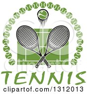 Clipart Of A Tennis Ball And Crossed Rackets Over A Green Court In An Arch Of Balls Over Text Royalty Free Vector Illustration