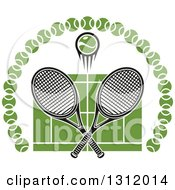 Clipart Of A Tennis Ball And Crossed Rackets Over A Green Court In An Arch Of Balls Royalty Free Vector Illustration