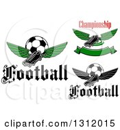 Clipart Of Winged Cleats And Soccer Balls With Text Royalty Free Vector Illustration
