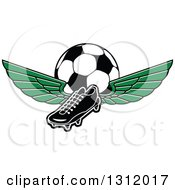 Clipart Of A Black And White Soccer Cleat Shoe With Green Wings And A Ball Royalty Free Vector Illustration