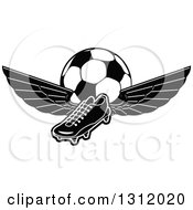 Clipart Of A Black And White Soccer Cleat Shoe With Wings And A Ball Royalty Free Vector Illustration