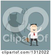 Clipart Of A Flat Design White Businessman With A Devil Shadow On Blue Royalty Free Vector Illustration