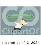 Clipart Of A Flat Design White Businessman Carrying Heavy Giant Dollar Bills On Blue Royalty Free Vector Illustration by Vector Tradition SM