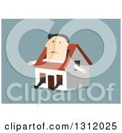 Flat Design White Businessman Stuck In A Tiny House On Blue