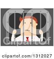 Clipart Of A Flat Design White Businessman Stuck Behind Bars On Blue Royalty Free Vector Illustration