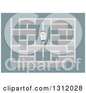 Clipart Of A Flat Design White Businessman Stressing In A Maze On Blue Royalty Free Vector Illustration by Vector Tradition SM