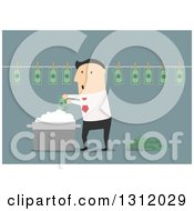 Clipart Of A Flat Design White Businessman Laundering Money On Blue Royalty Free Vector Illustration