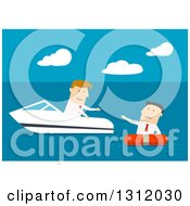 Clipart Of A Flat Design White Businessman In A Boat Rescuing Another On Blue Royalty Free Vector Illustration