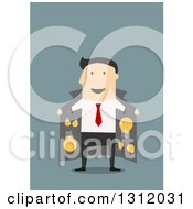 Clipart Of A Flat Design White Businessman With A Coat Full Of Ideas On Blue Royalty Free Vector Illustration by Vector Tradition SM
