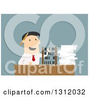 Flat Design White Businessman Using An Abacus On Blue