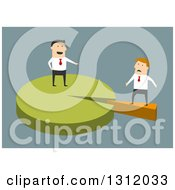 Clipart Of A Flat Design White Businessman Standing On A Majority Of A Pie Chart And Pointing At Someone With Small Shares On Blue Royalty Free Vector Illustration by Vector Tradition SM