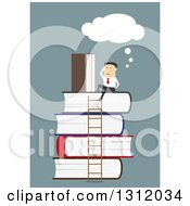 Clipart Of A Flat Design White Businessman Thinking On Top Of A Stack Of Books With A Ladder On Blue Royalty Free Vector Illustration by Vector Tradition SM