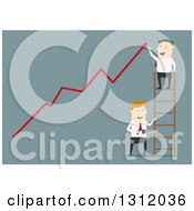 Clipart Of A Flat Design White Businessman On A Ladder Cheering Over A Growth Arrow While Someone Cuts The Ladder On Blue Royalty Free Vector Illustration