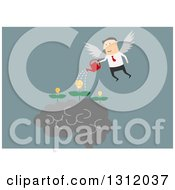 Clipart Of A Flat Design White Businessman Angel Watering Creative Ideas On Blue Royalty Free Vector Illustration by Vector Tradition SM