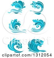Clipart Of Blue Splash Or Surf Waves Royalty Free Vector Illustration
