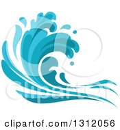Clipart Of A Blue Splash Or Surf Wave 2 Royalty Free Vector Illustration