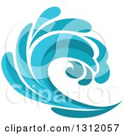 Clipart Of A Blue Splash Or Surf Wave 3 Royalty Free Vector Illustration
