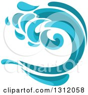 Clipart Of A Blue Splash Or Surf Wave 4 Royalty Free Vector Illustration