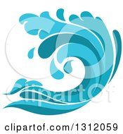 Clipart Of A Blue Splash Or Surf Wave 5 Royalty Free Vector Illustration