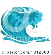 Clipart Of A Blue Splash Or Surf Wave 6 Royalty Free Vector Illustration