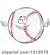 Clipart Of A Cartoon Baseball Character Holding Up A Finger And Pointing Royalty Free Vector Illustration