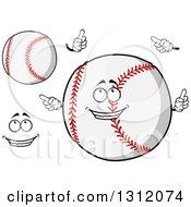 Clipart Of A Cartoon Face Hands And Baseballs Royalty Free Vector Illustration