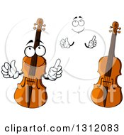 Clipart Of A Cartoon Face Hands And Violins Royalty Free Vector Illustration