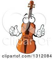 Clipart Of A Cartoon Violin Character Holding Up A Finger Royalty Free Vector Illustration