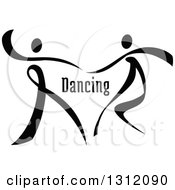 Clipart Of A Black And White Ribbon Couple Dancing Together With Text Royalty Free Vector Illustration