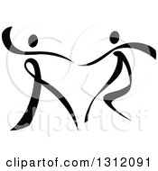 Clipart Of A Black And White Ribbon Couple Dancing Together Royalty Free Vector Illustration