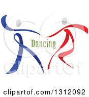 Clipart Of A Red Blue And White Ribbon Couple Dancing With Green Text Royalty Free Vector Illustration